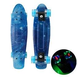 22 Skate Board Flashing Light Mini Cruiser Skateboard Plastic Galaxy Starry Sky Printed Longboard Street Outdoor Sport