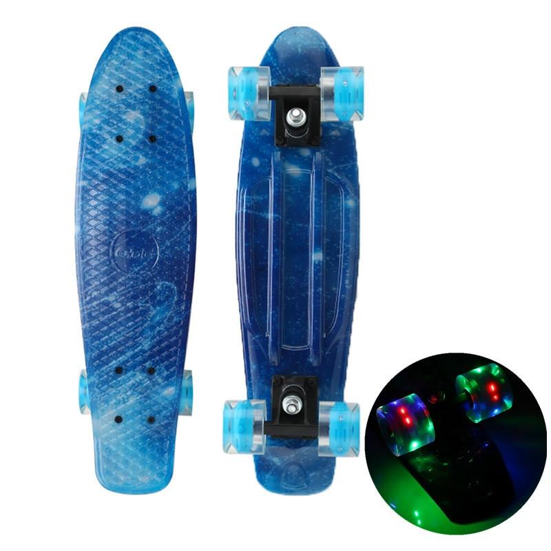 Скейтборд Pennyboard, мини-круизер, светодиодные светящиеся колеса, пластиковый Galaxy Звездный принт, Лонгборд для спорта на открытом воздухе, 22 дю...