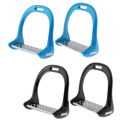 2 Pair Lightweight Aluminium Stirrups Horse Equestrian Safety Stirrups with Stainless Steel Treads