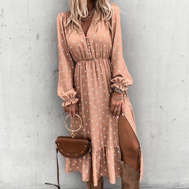 Floral Print Women Slim Long Shirt Dress 2021 Spring V-neck Button Split Party Dress Autumn Long Sleeve Elastic Waist Maxi Dress 5