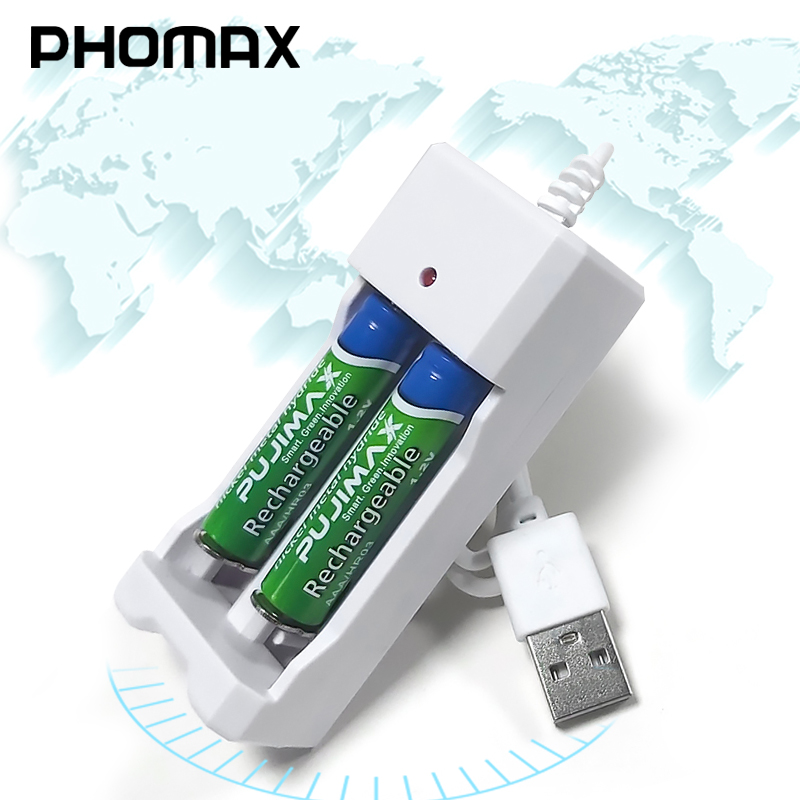 PHOMAX USB 2 Slots 1.2V Portable Fast With Line Rechargeable Aa Aaa Battery Charger 2pc Ni-MH/Ni-Cd Battery Deft LED Charger