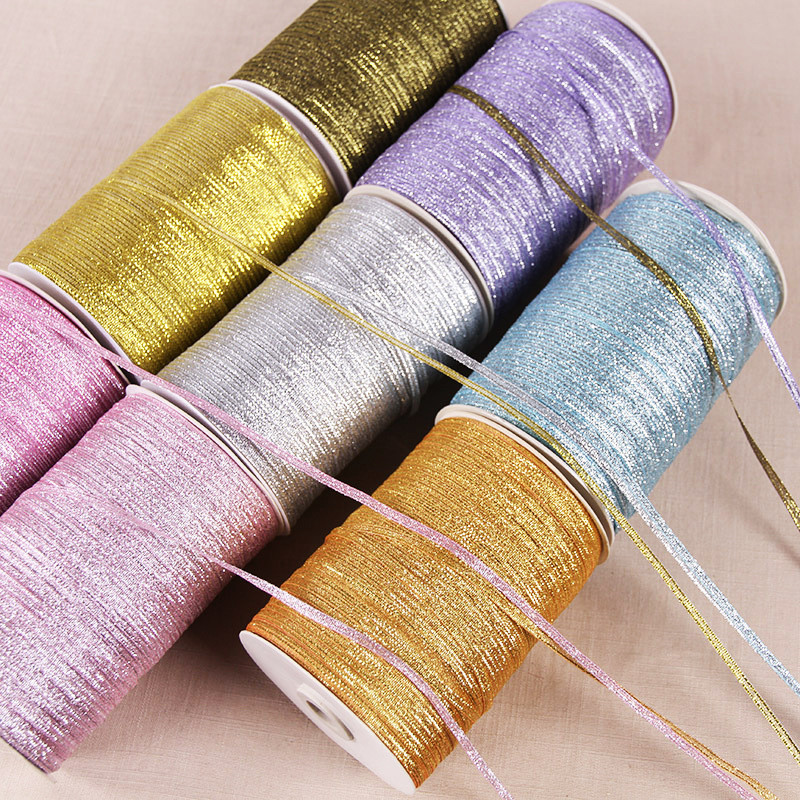 3mm Glitter Color Metallic Ribbon Christmas Wedding Decoration Cake Candy Box Packing Glitter Ribbons Fabric DIY Accessories