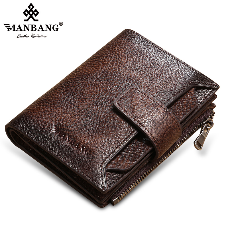 ManBang 2020 New 100% Genuine Leather Men Wallet Coin Purse Small Card Holder  Male Wallet Pocket Short Wallet