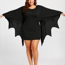 Halloween Womens Dresses Plus Size Round Neck Long Sleeve Bat Solid Mini Dress fashion ladies festival 2019