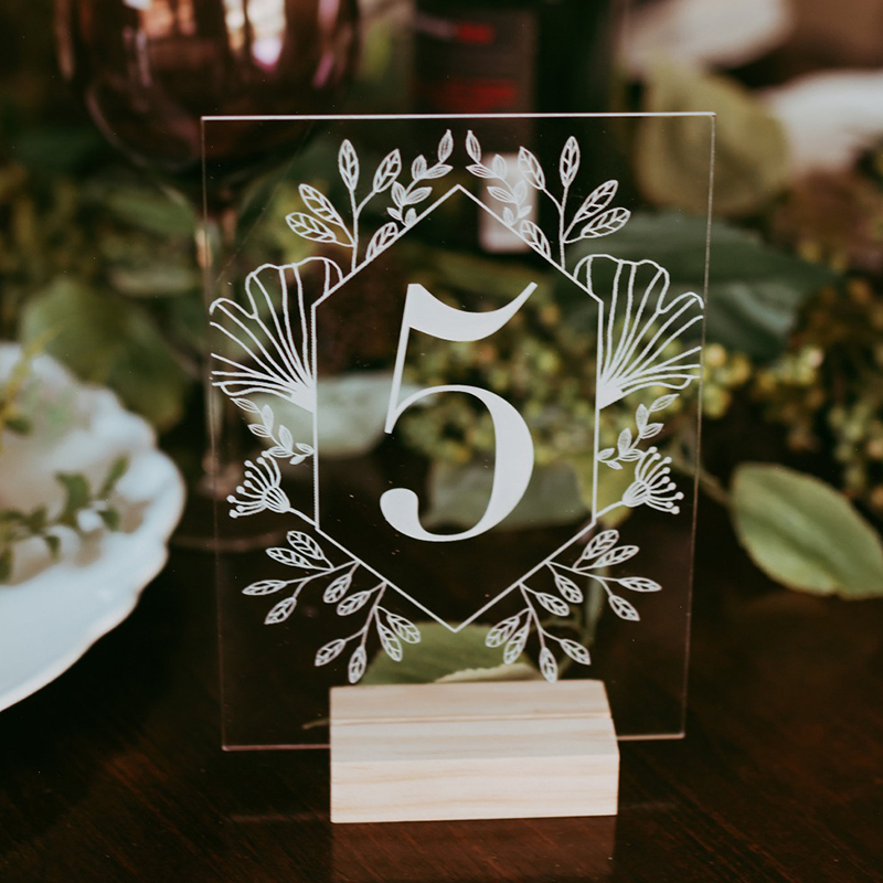 Acrylic Calligraphy Table Numbers With Wood Holder Wedding Event Shower Number Sign,Personalized Modern Wedding Table Number