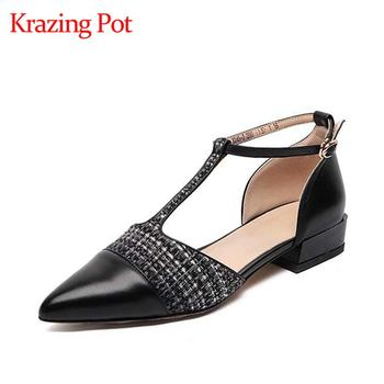 Krazing pot hot new genuine leather pointed toe low heels superstar recommend gentlewomen ankle straps handmade summer pumps L45