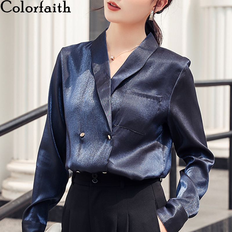 Colorfaith New 2020 Women Spring Summer Satin Blouse Shirts Double Breasted Pockets Casual Loose Notched Office Lady Tops BL9155