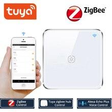 Tuya zigbee interruptor, sem fio neutro trabalhando com tuya zigbee hub interruptor de toque adesivo vida inteligente controlado por aplicativo tuya