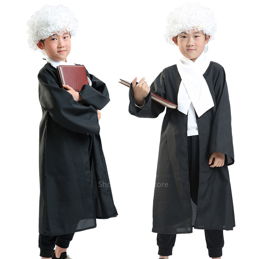 Lawyer Uniform Kid's Cosplay Costumes Boy Girl Halloween Professional Judge Gown Magistrate Occupation Stage Party Coat with Tie image