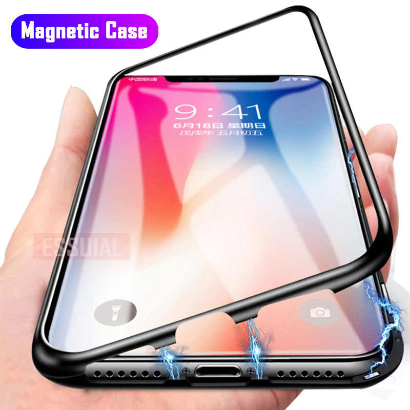 Magnetic Adsorption Metal Case For iPhone 11 Pro 7 8 Plus Tempered Glass Back Magnet Cover For iPhone 6 6s Plus X XS Max Cover