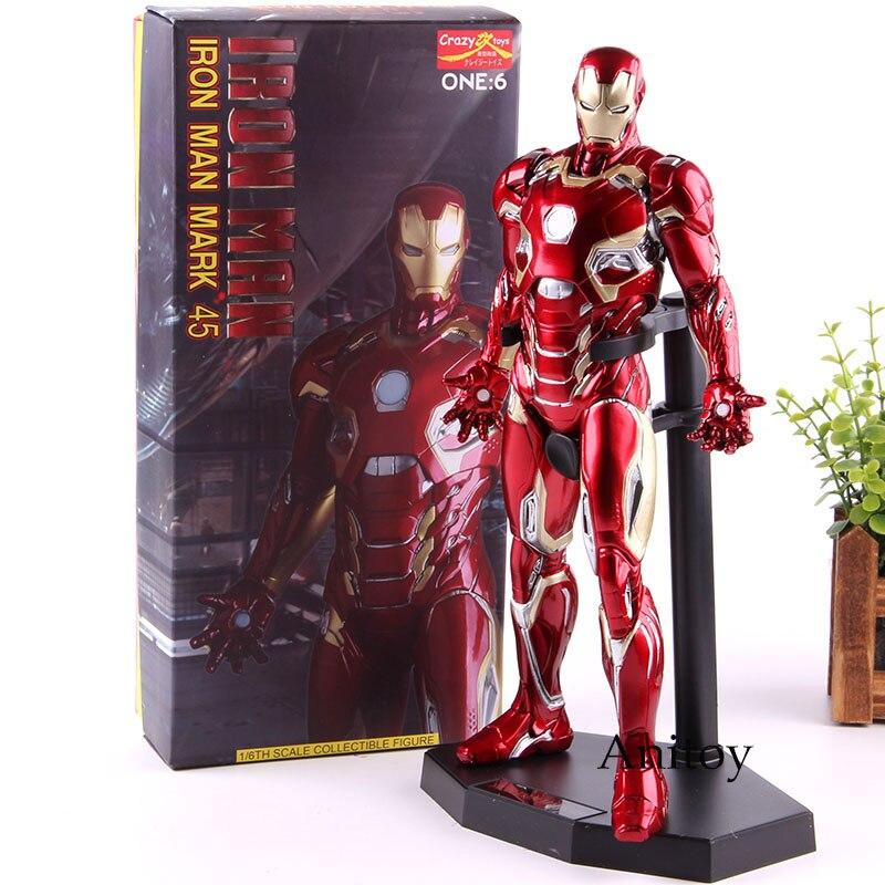 Jouets fous Marvel 1/6 échelle Ironman Figure marque XLV 1:6 fer homme MK45 Marvel fer homme Action figurine modèle à collectionner jouet