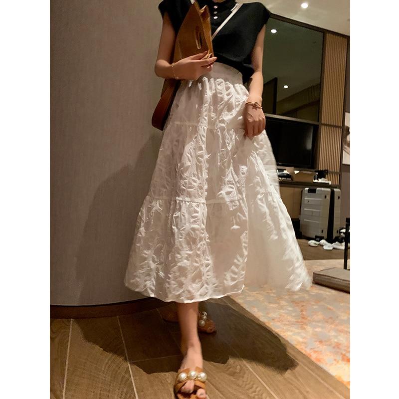 MISHOW 2020 Summer New Vintage Skirts Women Solid White Elegant Retro High Waist Fashion MX20B1762