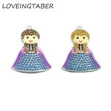 ( Choose Color First ) 10pcs/lot Cute Snow Princess With Hair Rhinestone Pendants Pendants