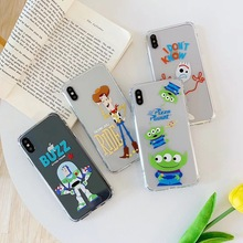 Cute cartoon anime toy story phone case For iphone Xs MAX XR X 6 6s 7 8 plus Buzz Lightyear friend anti-fall soft TPU back Cover
