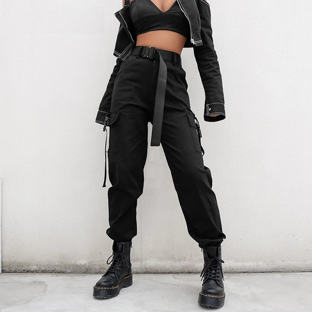 YBYR Big Pockets Cargo Pants Women Elastic High Waist Loose Streetwear Summer Pant Baggy Tactical Trouser Hip Hop Joggers Pants 2