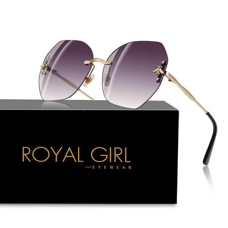ROYAL GIRL Oversize Rimless Sunglasses Women Brand Designer Bee Sun Glasses 2018 Vintage Gradient Metal Frame Oculos UV400 Ss793