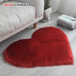 Mode coeur solide tapis fausse fourrure Imitation laine tapis sol tapis longs Shaggy tapis pour salon maison chambre décor