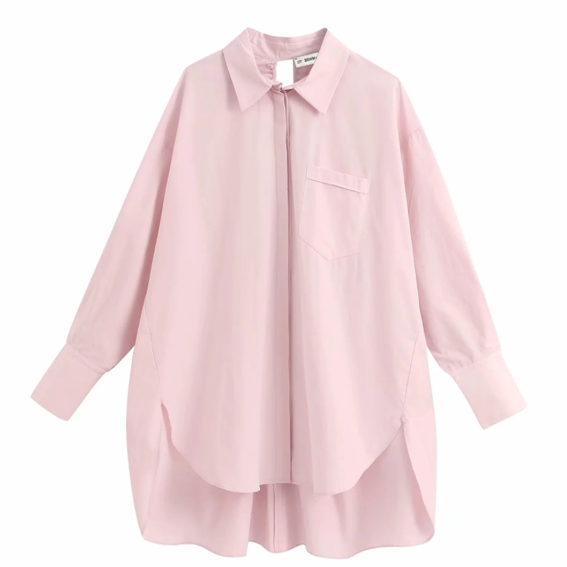 New Women Fashion Solid Pocket Casual Loose Smock Blouse Shirt Women Back Hole Lace Up Blusas Chic Femininas Chemise Tops LS6441