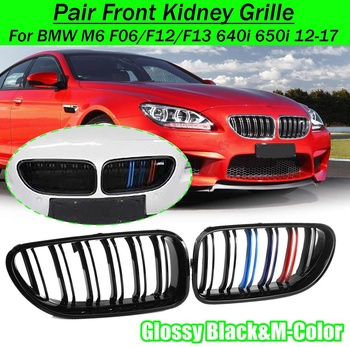 1 Pair Front Kidney Grille For BMW M6 F06/F12/F13 640i 650i 2012-2017 Matte Gloss Black M-Color Replacement Racing Grilles image