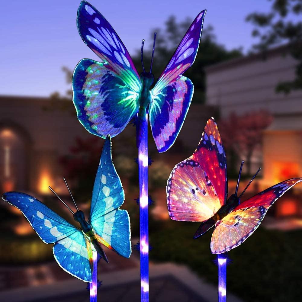 3 Pack Butterfly Outdoor Solar Garden Light Garden Decorative Lights