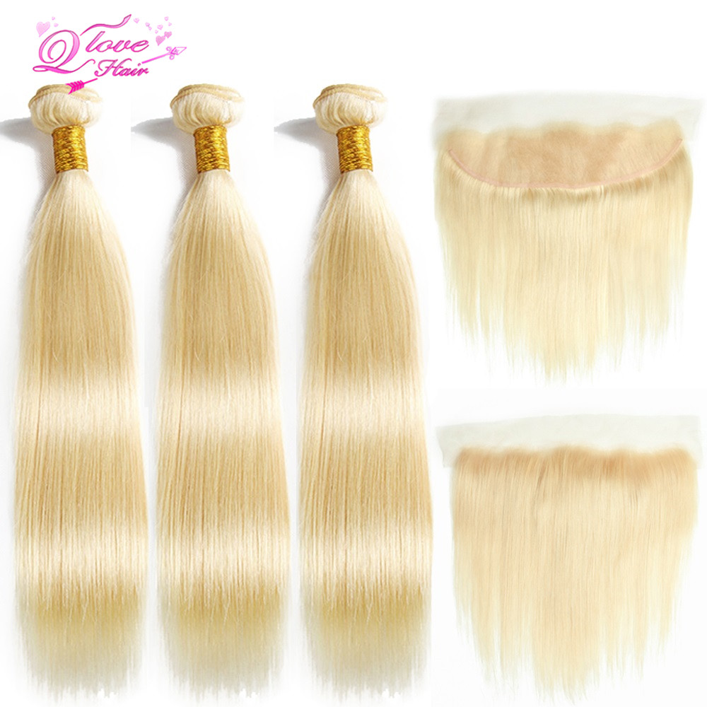 Queen Love Hair 613 Blonde Color Peruvian Straight Hair 3 Bundles With 13x4 Frontal Remy Hair 100% Human Hair Free Shipping
