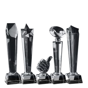 Free shipping High Quality Football Crystal Trophy Cup Carve Name For Sports Event CustomizationCrystal Trophy