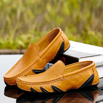 2019 Spring Summer New Hollowed Breathable Bean Shoes Fashion Casual Shoes Real Leather Shoes Men Loafers tyh6