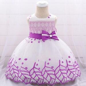 Verão folha applique vestidos de bebê para meninas aniversário princesa noite baptismo vestido de festa do bebê meninas roupas 0-2 ano l1909xz