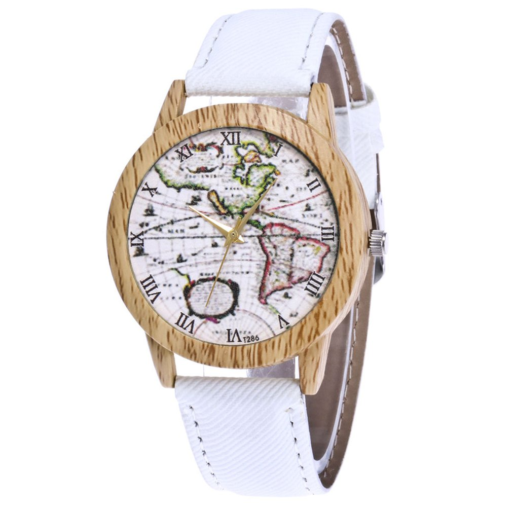 Quartz-Watch Leather Strap Dial Wooden Digital Vintage High-Quality Brand World-Map-Printing title=