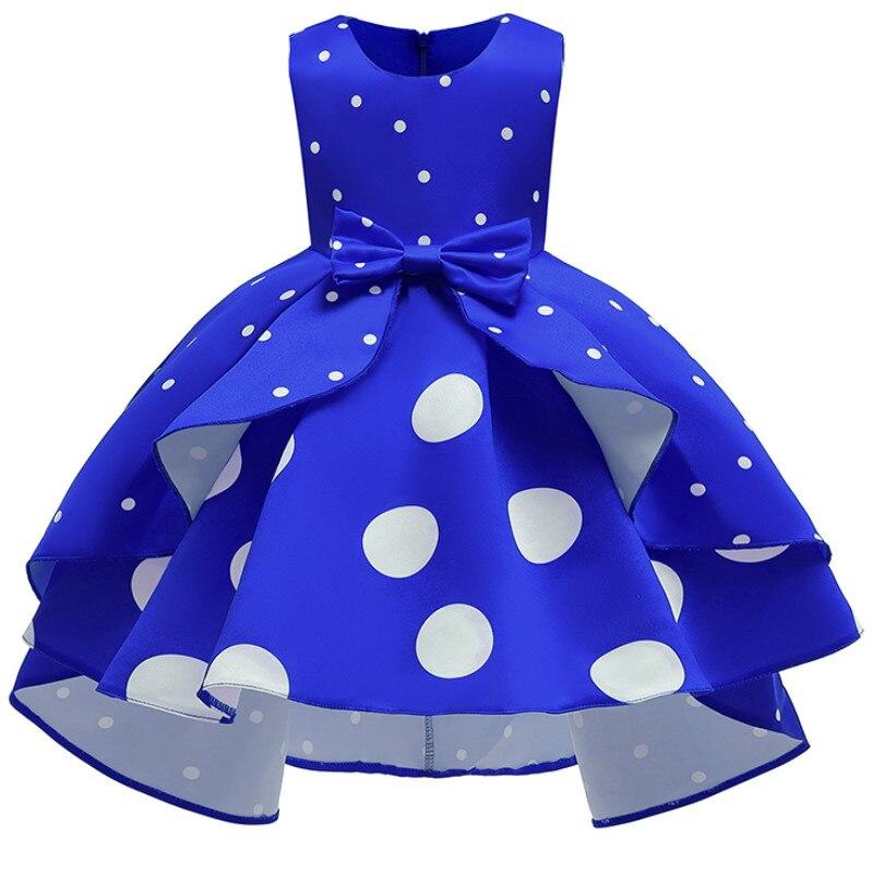 Baby Girls Christmas Flower Striped Dress For Girls Wedding Party Dresses Toddler Kids Brithday Dot Dress Children Clothing 4