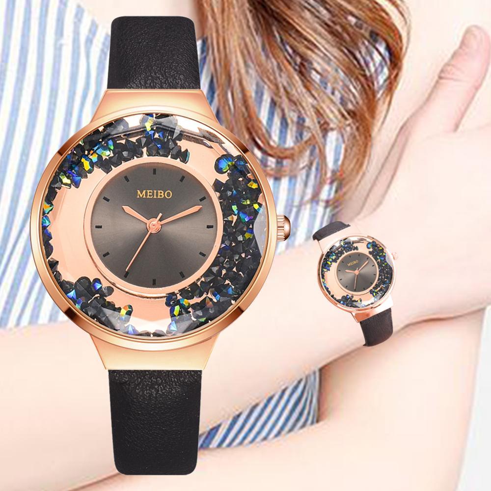 New Women Watch Rhinestone Leather Bracelet Wristwatch Ladies Fashion Watches Ladies Leather Analog Quartz Relogio Reloj Mujer