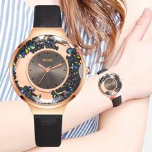 New Women Watch Rhinestone Leather Bracelet Wristwatch Ladies Fashion