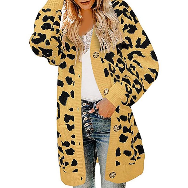 Women Cardigan V-neck Knitted Sweater Leopard Long Sleeves Pockets Button Down Open Front Long Outwear Women's Jacket!