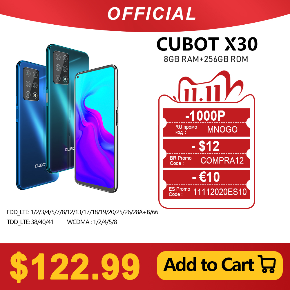 """Cubot X30 Smartphone 48MP Five Camera 32MP Selfie 8GB+256GB NFC 6.4"""" FHD+ Fullview Display Android 10 Global Version Helio P60