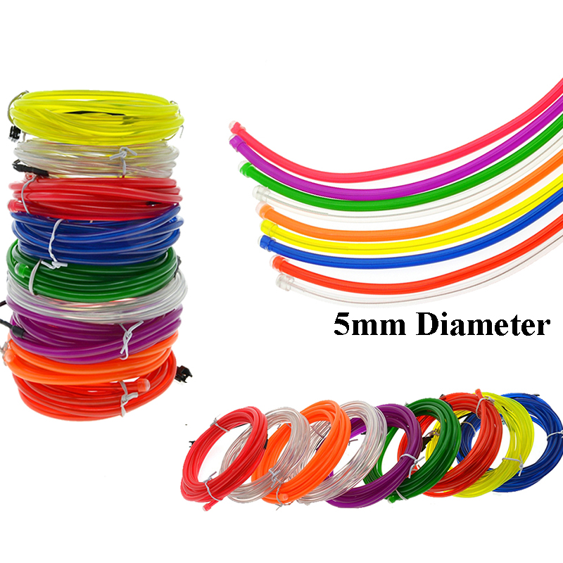 EL Neon Light  Party Decor Car Lights Neon LED Flexible EL Wire 5mm Rope Tube Waterproof LED Strip 1/2/3/5/10M For Choice