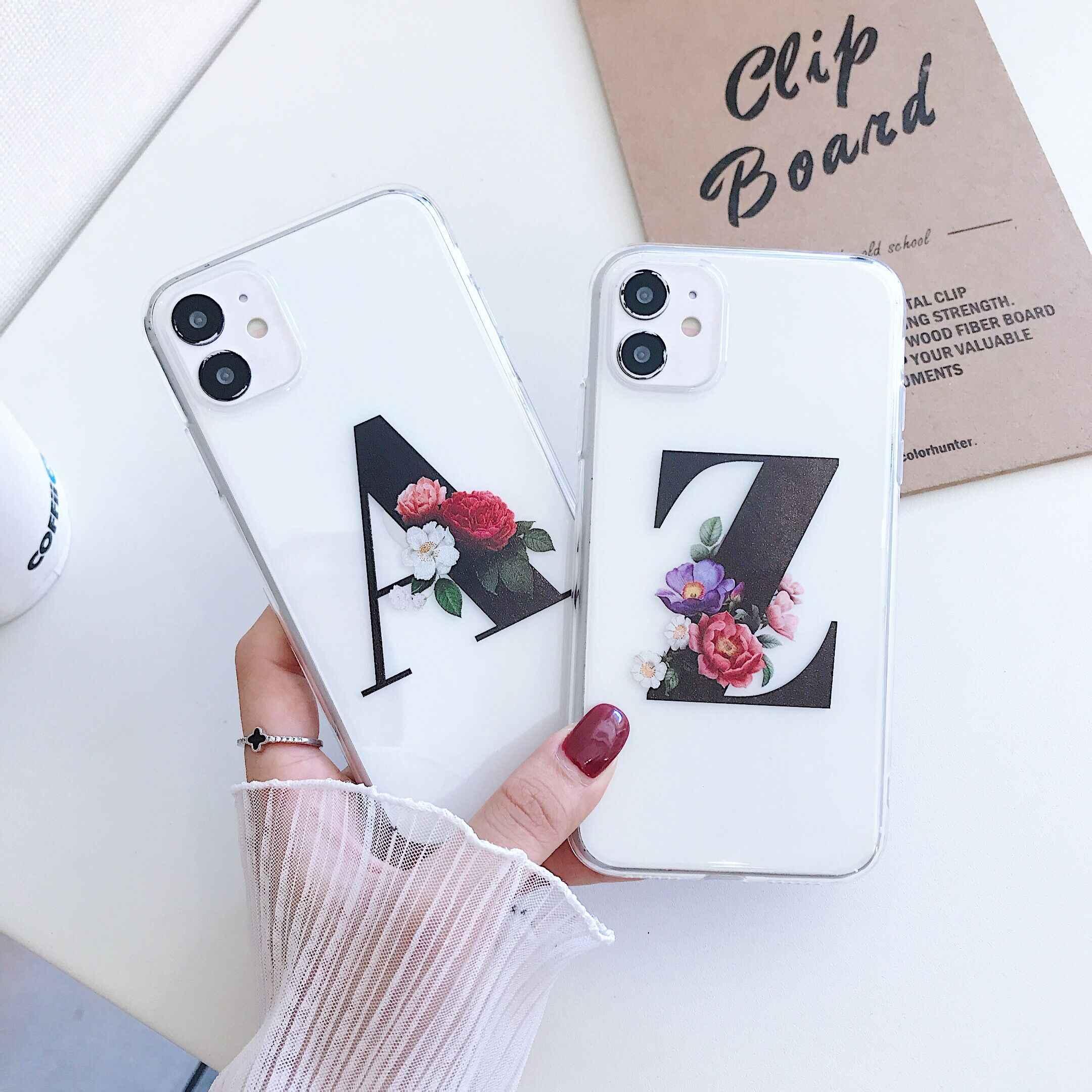 Силиконовый прозрачный чехол для телефона с надписью A-Z для iPhone 11 Pro X XS MAX XR, чехол для iphone 7 8 plus SE 2020, мягкие чехлы из ТПУ
