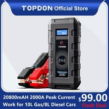 20800mAh Topdon Car Jump Starter V2000 1200A Starting Device Wireless Power Bank Car Battery Starter Launcher for Car Booster