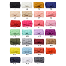Baby Headband Big Bows Infant Wide Head Wrap Girls Solid Color Turban Newborn Fashion Hairband Kids Hair Accessories 27Pcs