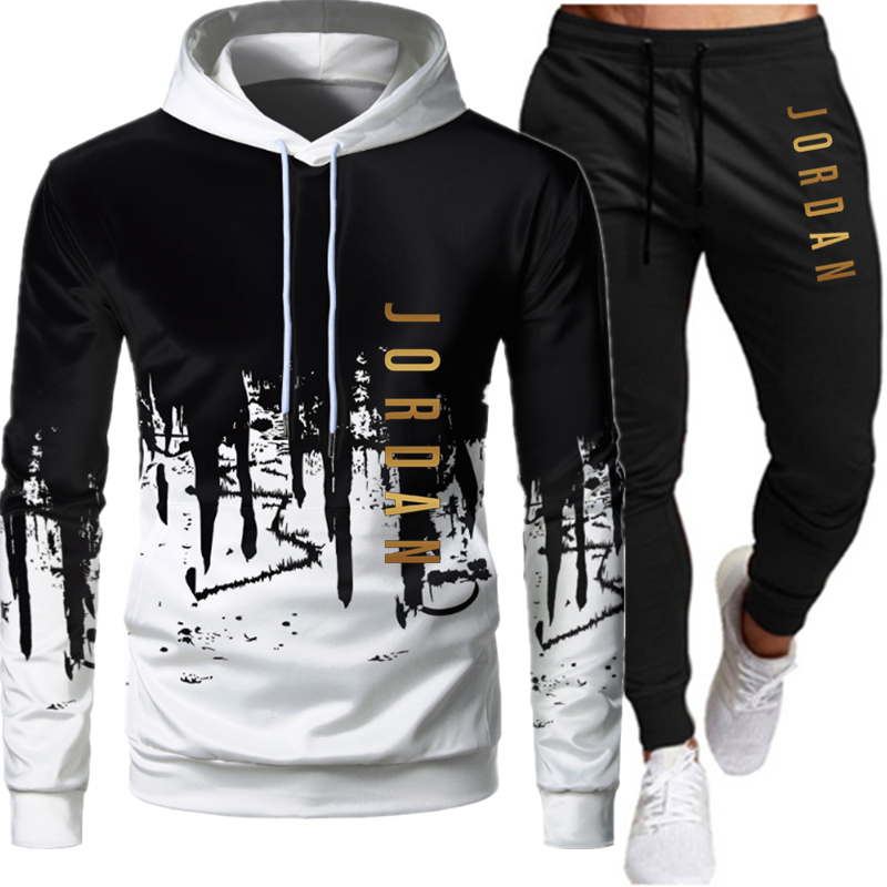 Pullover Hoodie Suit Pants Sportwear 2pieces-Sets Casual Hombre Ropa Size-S-4xl