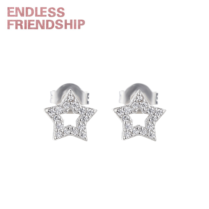 Endless Friendship Silver Sparkling Star & Snowflake Drop Earrings for Women Authentic Woman Gift