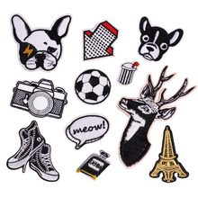 New Cartoon Patch Embroidery Patches for Clothing Arrow Diy Football Dog Camera Iron on Patches on Clothes Lemon Sticker(China)