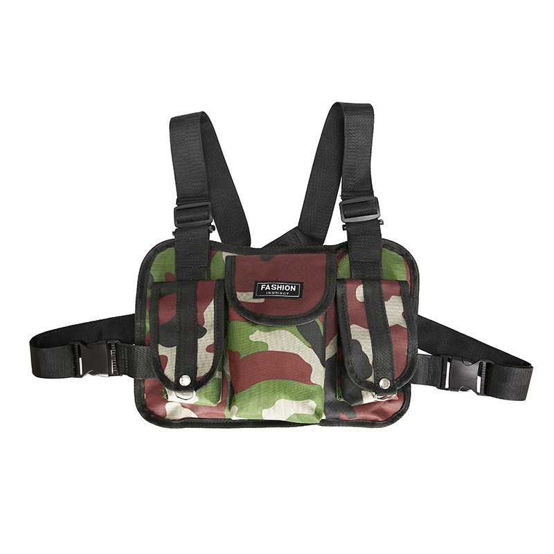 Fashion Chest Rig Bag Camouflage Vest Harness Front Pack Pouch Vest Rig Hip Hop Streetwear Functional Chest Bag
