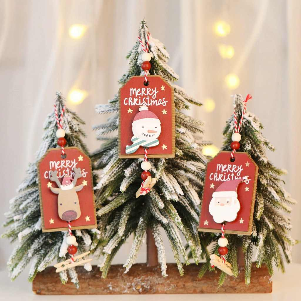 Christmas Tree Decorations Wood Pendant Navidad 2021 New Year Christmas Decorations for Home Decor Santa Claus Snowman Xmas