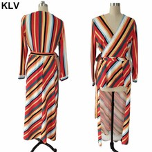 Womens Autumn Long Sleeve Sexy Wrap V-Neck Blouse Boho Rainbow Stripes Print Pullover Tops High Low Asymmetric Belted Dress men lion print high low blouse