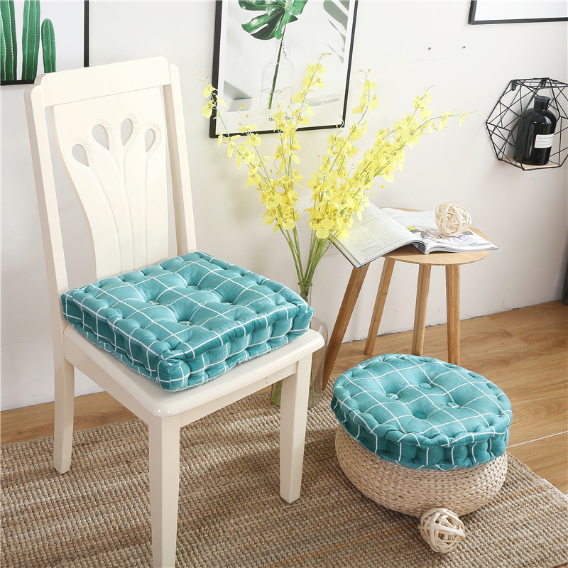 Simanfei Seat Cushion Floor Pillow Concise Plaid Square Pouf Round Cushion Tatami Futon Cotton Linen Soft Chair Cushion Mat in Cushion from Home Garden