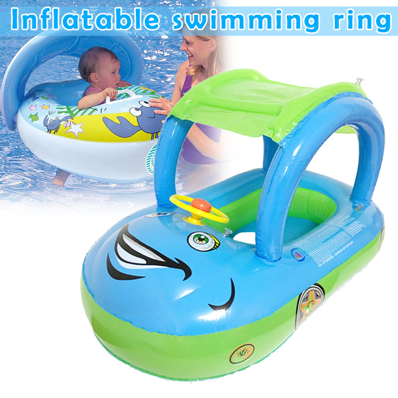 Inflatable Swimming Ring Floats With Canopy Safety Seat Sunshade For Baby Pool S7JN