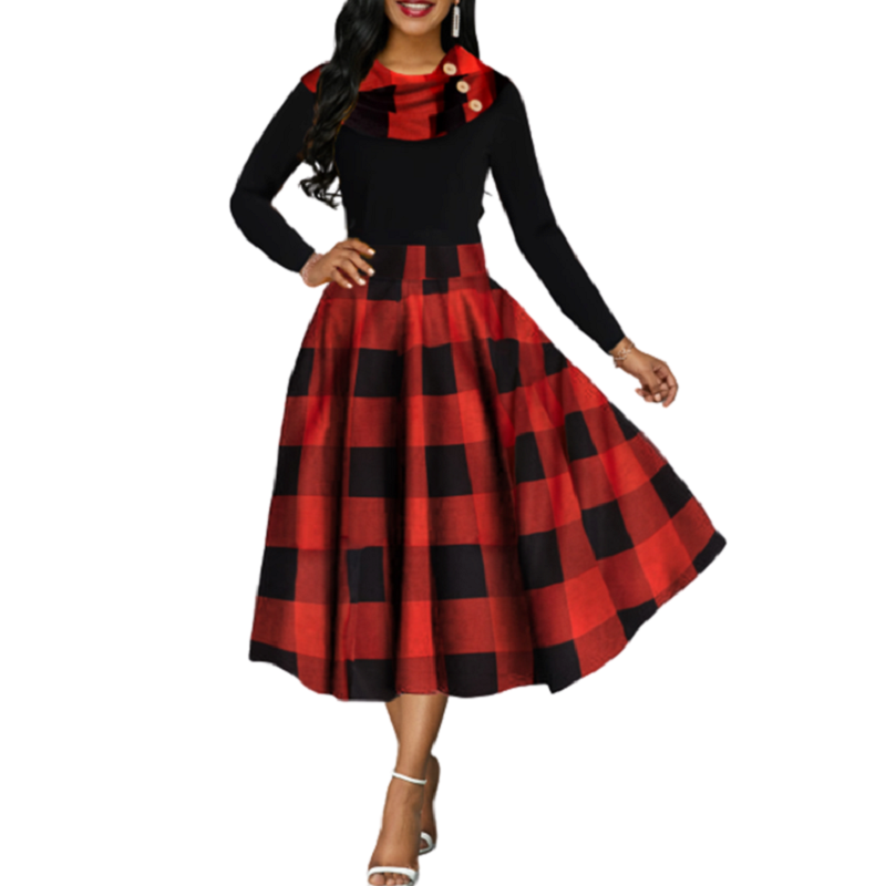 Women Vintage Ball Gown Dress Long Sleeve 2020 Autumn Fashion Plaid Mid