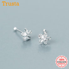 Trustdavis Real 925 Sterling Silver Fashion Mini Flower Stud Earrings Nose nail For Fashion Women Party Fine S925 Jewelry DA1504(China)