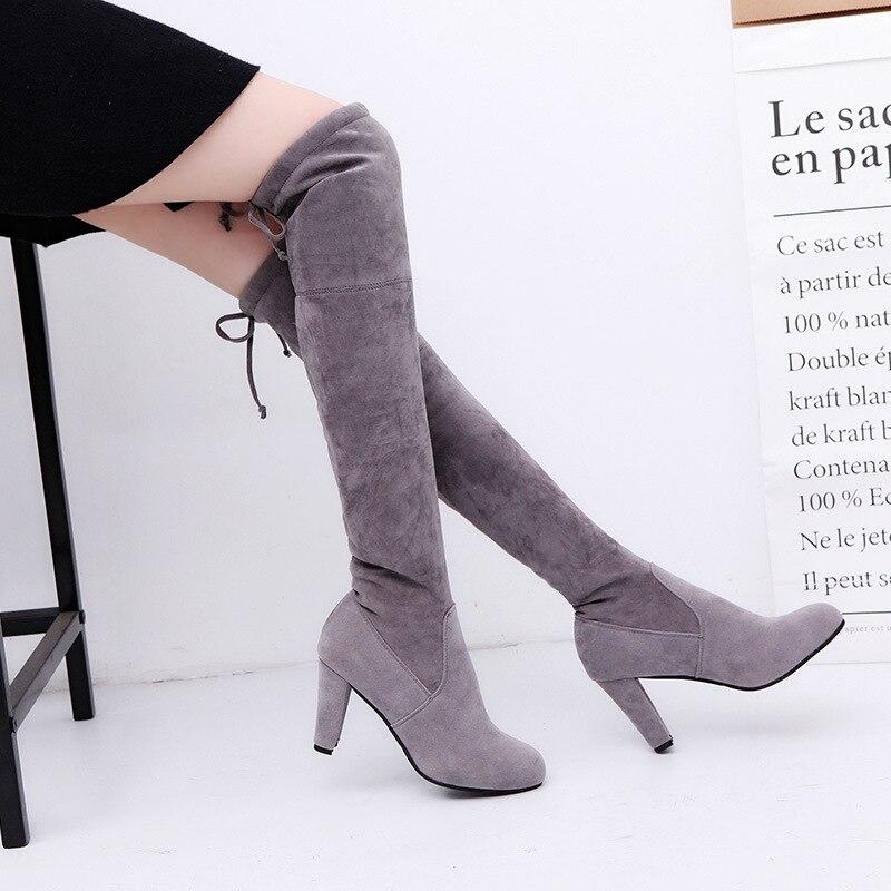 alto sexy coxa botas calcanhar 8cm moda