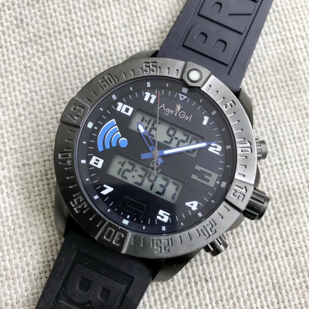 Crystal-Watches Digital Sapphire Dual-Display Men Blue Black Wifi Full Rubber AAA Carbon-Fiber